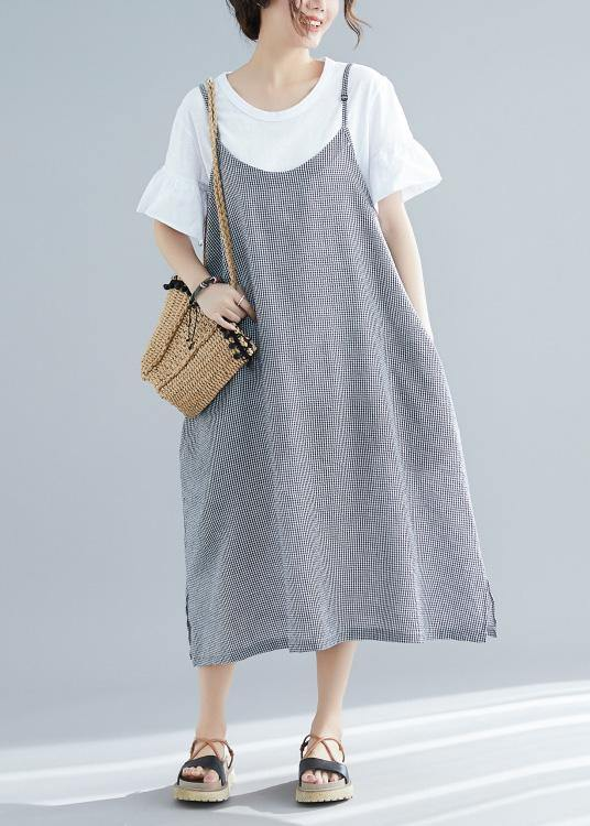 Women sleeveless cotton clothes For Women Tunic Tops plaid A Line Dresses summer