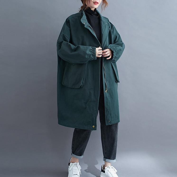 Women stand collar Large pockets Plus Size maxi coat green Midi coat