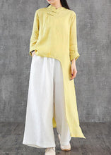 Load image into Gallery viewer, Women stand collar asymmetric linen Wardrobes Inspiration yellow Dress