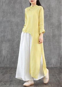 Women stand collar asymmetric linen Wardrobes Inspiration yellow Dress