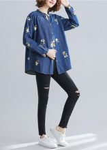 Load image into Gallery viewer, Women stand collar embroidery cotton spring clothes For Women Outfits dark blue blouse