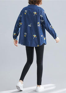 Women stand collar embroidery cotton spring clothes For Women Outfits dark blue blouse