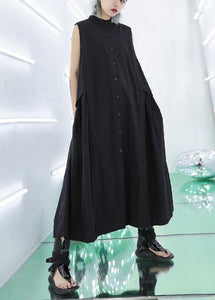 Women stand collar pockets cotton summer dresses Sewing black long Dresses