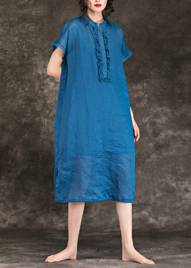 Women stand collar side open linen dresses Fashion Christmas Gifts blue baggy Dress Summer