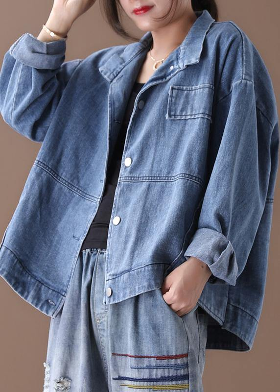 Women stand collar fine casual coats denim blue coats
