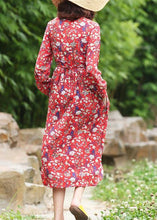 Load image into Gallery viewer, Women stand neck linen high neck clothes Fashion Ideas red floral Dress