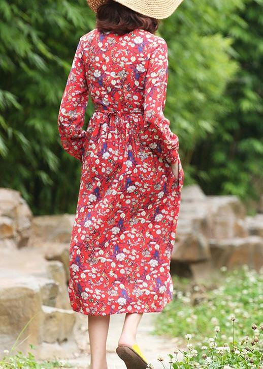 Women stand neck linen high neck clothes Fashion Ideas red floral Dress