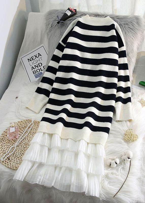 Women striped Sweater weather fashion patchwork Fuzzy knit dress
