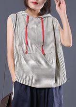 Load image into Gallery viewer, Women striped hooded cotton clothes sleeveless cotton summer top