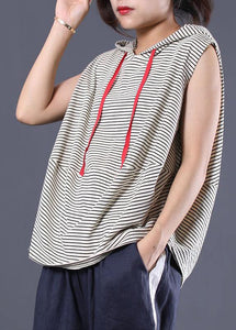 Women striped hooded cotton clothes sleeveless cotton summer top
