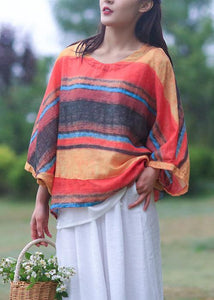 Women striped linen shirts women o neck Batwing Sleeve loose summer blouses