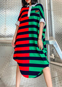 Women striped patchwork cotton pattern Plus Size summer Dress