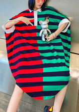 Load image into Gallery viewer, Women striped patchwork cotton pattern Plus Size summer Dress