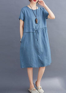 Women tie waist o neck linen summer Robes Wardrobes blue Dress