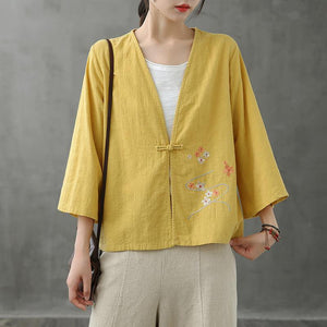 Women v neck Chinese Button tops blouses pattern yellow shirts