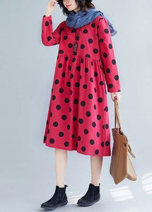 Women v neck Cotton quilting dresses Tunic Tops red dotted Dress fall