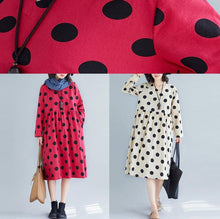 Load image into Gallery viewer, Women v neck Cotton quilting dresses Tunic Tops red dotted Dress fall