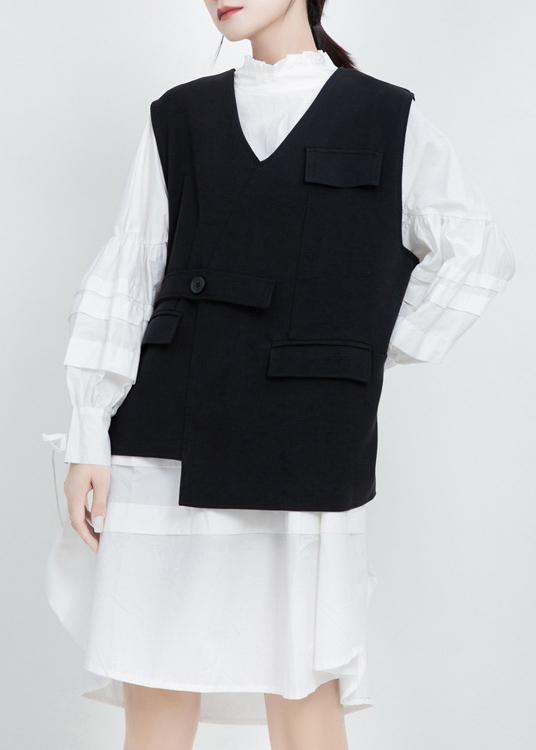 Women v neck Fine sleeveless outwear black silhouette women coats