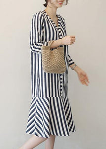 Women v neck Ruffles Cotton clothes Neckline striped Dresses