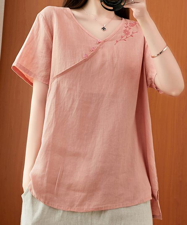 Women v neck clothes For Women Sleeve pink embroidery tops