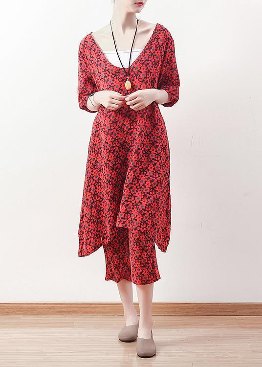 Women v neck crop pants linen clothes For Women Fine Outfits red floral Plus Size two pieces summer