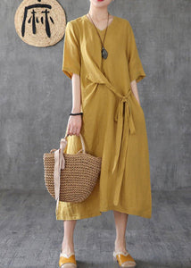 Women v neck linen clothes Online Shopping yellow Dresses