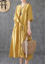 Load image into Gallery viewer, Women v neck linen clothes Online Shopping yellow Dresses