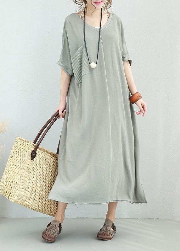 Women v neck linen dress Shirts light gray Dress side open summer