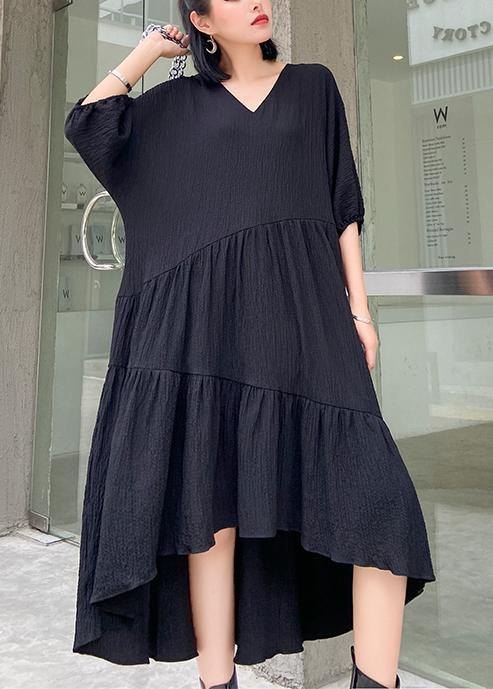 Women v neck low high design cotton summer black Kaftan Dress