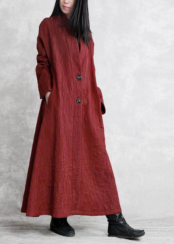 Women v neck pockets fine fall clothes red Art outwear