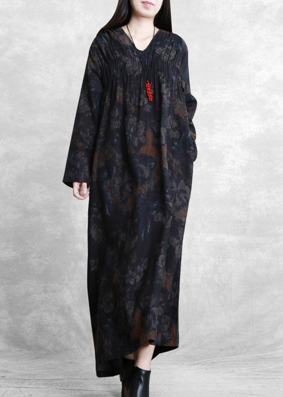Women v neck wrinkled clothes For Women Catwalk black print Robe Dresses