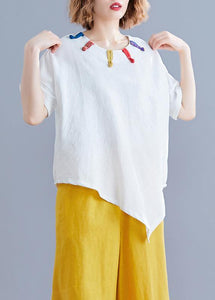 Women white linen clothes Cotton o neck asymmetric summer top