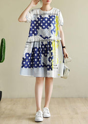 Women white plaid dresses o neck Ruffles short Dress