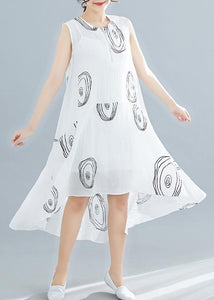 Women white print linen cotton clothes For Women sleeveless low high design shift summer Dress