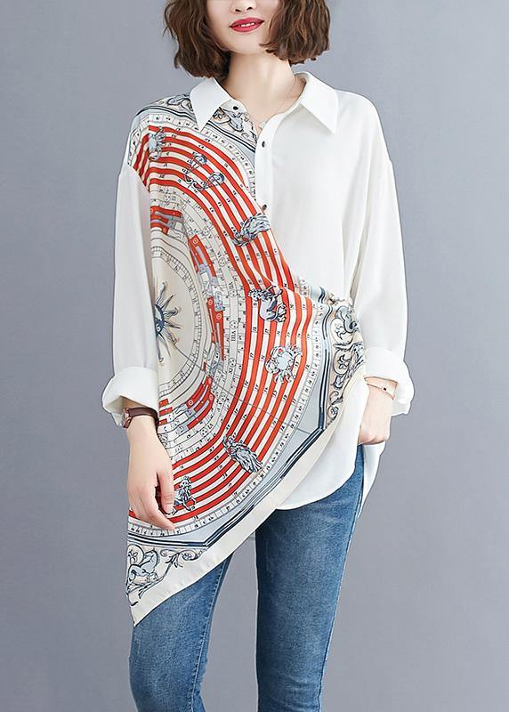 Women white prints blended box top asymmetric baggy summer blouses