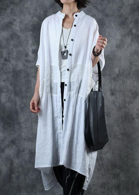 Women white top quality crane coats Work Outfits low high design stand collar coats