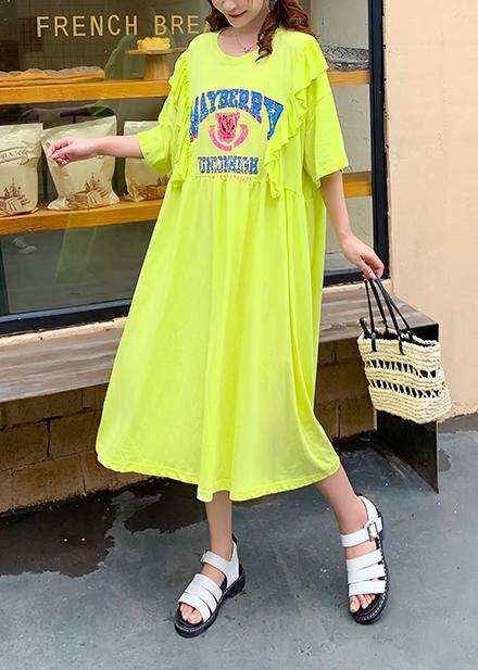 Women yellow Cartoon print tunics for women o neck Ruffles Traveling Dress
