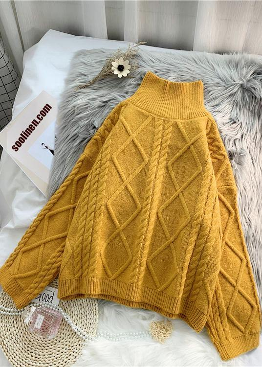 Women yellow crane tops high neck thick fall fashion knitwear