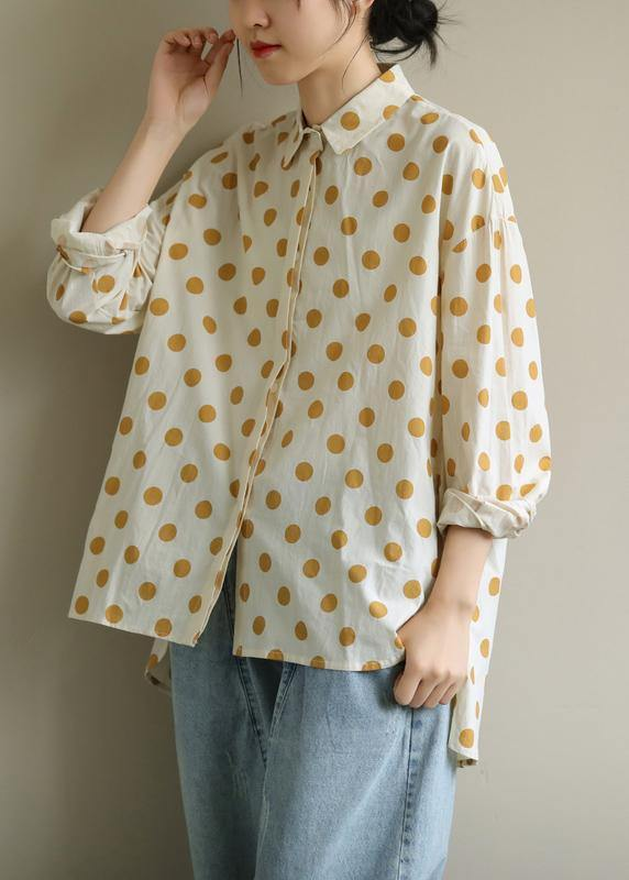 Women yellow dotted clothes lapel low high design Knee blouses