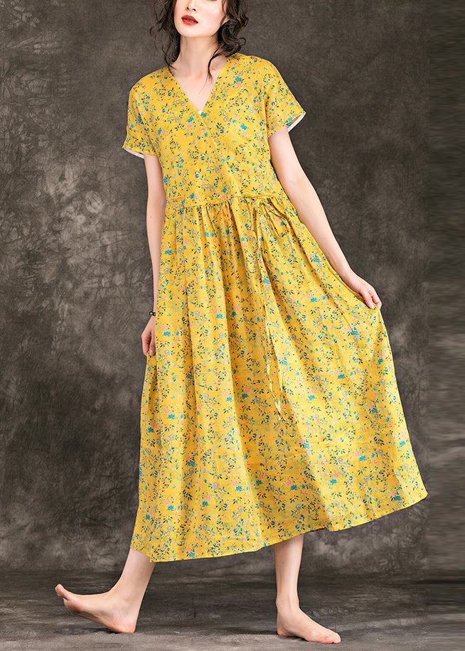 Women yellow floral linen dress fine design v neck tie waist cotton Summer Dress