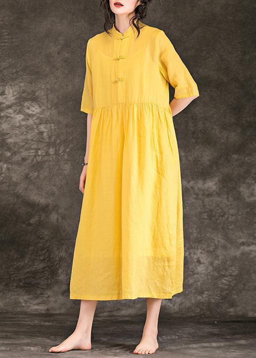 Women yellow linen clothes plus size Outfits stand collar Half sleeve long  Summer Dresses