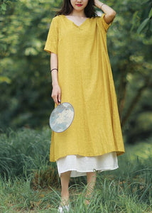 Women yellow linen cotton Robes v neck side open Art summer Dress
