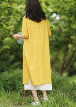 Load image into Gallery viewer, Women yellow linen cotton Robes v neck side open Art summer Dress