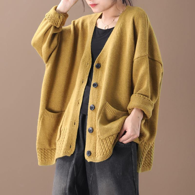 Women Loose Knit V-neck Cotton Cardigan Coat