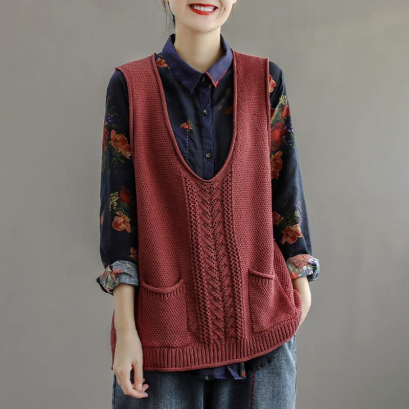 2021 New Pocket Knitted Hollow Vest