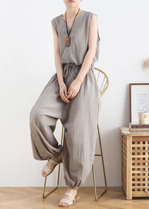 Women's 2020 spring and summer new drawstring waist gray jumpsuit wide-leg pants