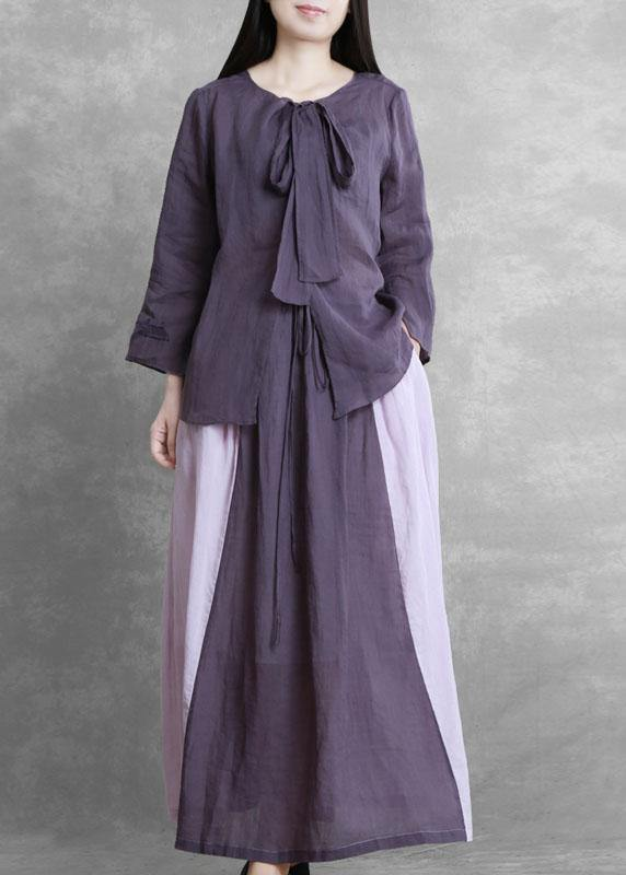 Women's Autumn Purple Suit Lace-up Three-quarter Sleeve Shirt Contrasting Color Sweater Skirt