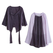 Load image into Gallery viewer, Women's Autumn Purple Suit Lace-up Three-quarter Sleeve Shirt Contrasting Color Sweater Skirt
