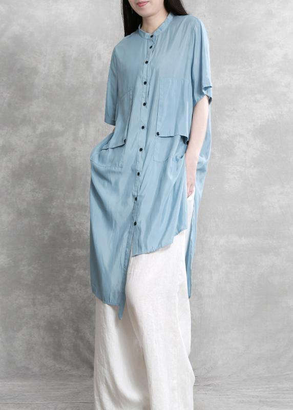 Women's Fashion Personality Suit Blue Irregular Long Shirt White Wide Leg Pants