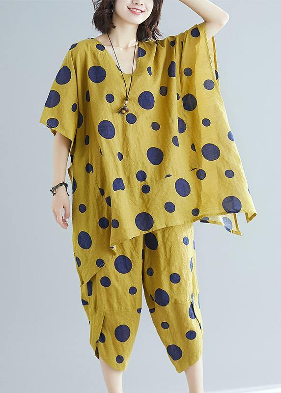 Women's art yellow dot print long T-shirt top + casual cotton wide leg pants